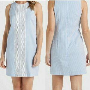London Times Striped Shift Sleeveless Dress